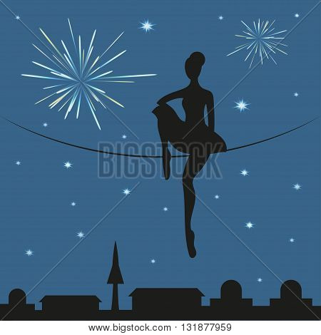 Circus woman tightrope walker. Circus woman sitting on a rope above the town. Silhouette of circus woman and fireworks