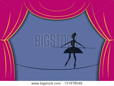 Circus woman tightrope walker. Circus woman walking with a pole. Silhouette of circus woman and the scenes