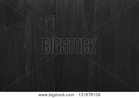 Black rustic wood texture and background. Black wood texture background. Rustic, old wooden background. Aged wood planks texture pattern. Wooden surface. Vertical image.