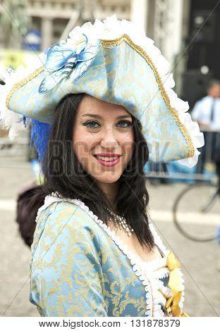 Naples Italy. May 29 2016: a participant  of the parade of traditional carriages with actors in historical costumes to commemorate  the three hundredth anniversary of the birth of Charles of Spain who was King of Naples from 1734 to 1759