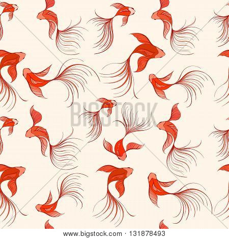 Koi seamless pattern can be used for wallpaper, website background, textile printing. Hand drawn vector illustration of Chinese fish on light background. Marine and nautical backgrounds. Sea theme. Summer collection.
