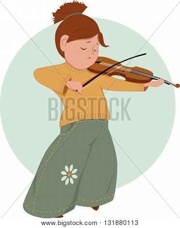 Cute cartoon elementary school girl playing violin, vector illustration, no transparencies