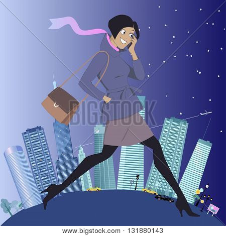 Young energetic woman walking and talking on her cell-phone, urban landscape on the background showing changes from daytime to evening, vector illustration, no transparencies, EPS 8