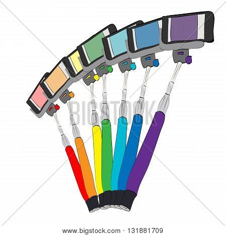 isolated vector illustration of seven rainbow colored selfie sticks and mobile phones