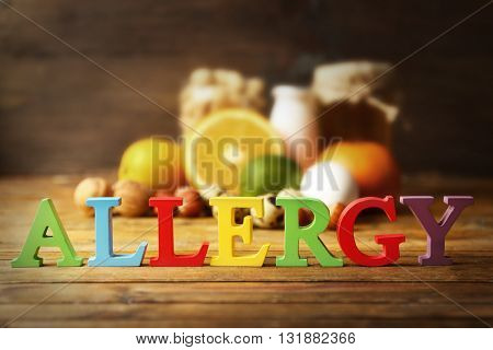 Allergy food concept. Allergic food on wooden background poster