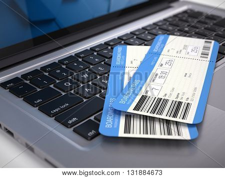 Two airline boarding pass tickets on laptop keyboard - online tickets booking concept. 3d rendering. All information on tickets - fictional (not Sensitive).