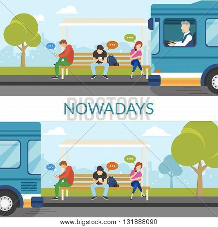 People are waiting a bus and using mobile gadgets such as smartphone and tablet pc and sitting on the bus stop. Student bus arrived and departed but young people still use gadgets. Flat fun concept
