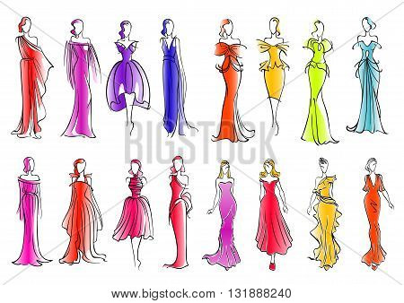 Fashionably dressed women sketch silhouettes for fashion industry or clothes design. Fashion models presenting colorful sleeveless cocktail dresses and long silk evening gowns, adorned by ruffles and bows