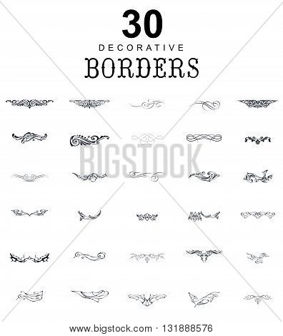 Borders and dividers decorative vignette elements set. Border for design. Vector calligraphic Border and divider. Illustration ornamental Border