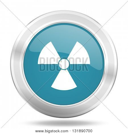 radiation icon, blue round metallic glossy button, web and mobile app design illustration