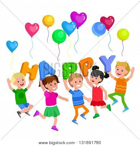 Cute vector character child with Balloon. Cheerful child. Happy kid illustration. Detailed character child. Vector for Celebration children day, fun child.