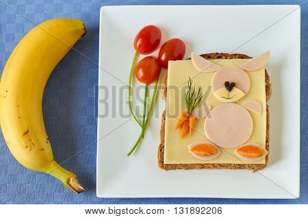 Healthy and fun food for kids, funny face sandwich