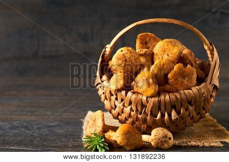 Vintage basket of chanterelles mushrooms from forest on a wooden planks background