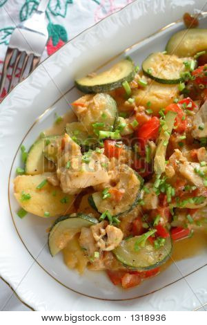 Fish With Vegetables On The Plate