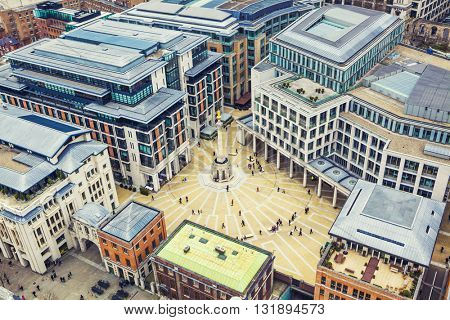 London Building Aerial View, London City Center - View on business modern district