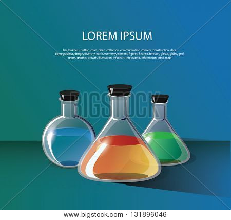 Three flasks of different shapes of glass with liquid on blurred blue background