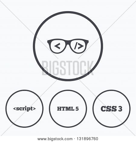 Programmer coder glasses icon. HTML5 markup language and CSS3 cascading style sheets sign symbols. Icons in circles.