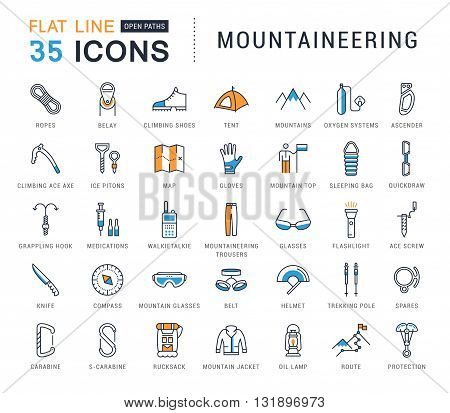 Set vector line icons with open path mountaineering and hiking with elements for mobile concepts and web apps. Collection modern infographic logo and pictogram.