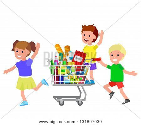 Concept illustration for Shop, supermarket. Vector character kid playing together, riding supermarket shopping cart. Healthy eating and eco food in supermarket shopping cart