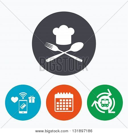 Chef hat sign icon. Cooking symbol. Cooks hat with fork and spoon. Mobile payments, calendar and wifi icons. Bus shuttle.