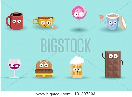 illustration of a fresh food and beverage group on isolated background