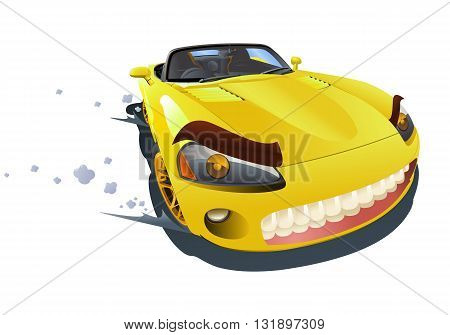 illustration of a yellow sport car drifting on isolated white background