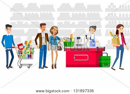 Concept illustration for Shop, supermarket. Vector character woman cashier in supermarket. Healthy eating and eco food in supermarket. Vector cash register and buyer in a supermarket