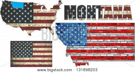 USA state of Montana on a brick wall - Illustration, The flag of the state of Montana on brick textured background,  Montana Flag painted on brick wall, Font with the United States flag,  Montana map on a brick wall