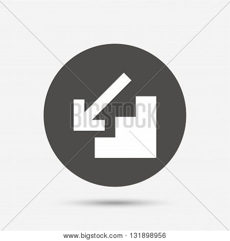 Downstairs icon. Down arrow sign. Gray circle button with icon. Vector