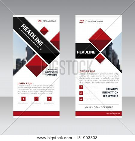 Red black Business Roll Up Banner flat design template Abstract Geometric banner Vector illustration set