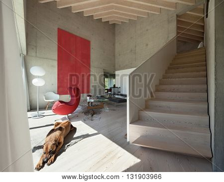 Interior of a loft, modern living room with red armchair, concrete walls