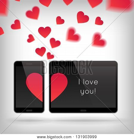 Love on Gadget. Vector illustration of smart phone and tablet. Happy Valentines Day on Mobile and Tablet. Phone and tablet screen with Hearts. Scattering hearts on background