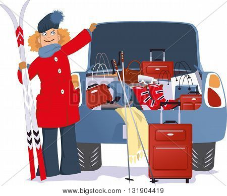 Cartoon woman overspent on Christmas vacation, standing at a car with open trunk, overflown with purchases of sport and travel equipment, vector illustration, no transparencies, EPS 8