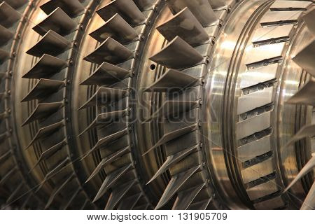 Close up of internal rotor of a steam turbine