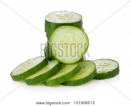 closeup Cucumber on white background. Cucumber. food