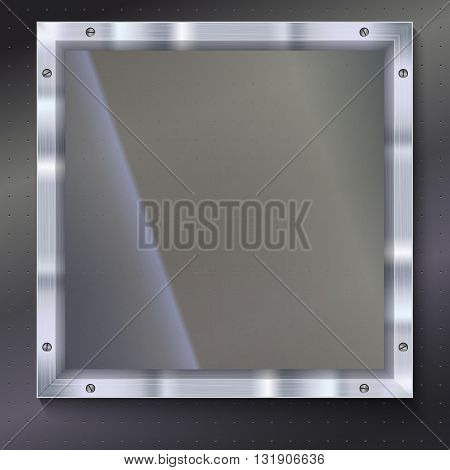 Glass plate with metal frame and bolts on the background of polished metal. Banner of glass and metal frame with reflexes. Technological background for your design poster