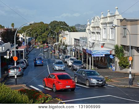 Auckland New Zealand - May 21 2016: Shops Cafes & Main Street of Devonport.