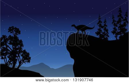 Silhouette of Iguanodon in cliff at the night
