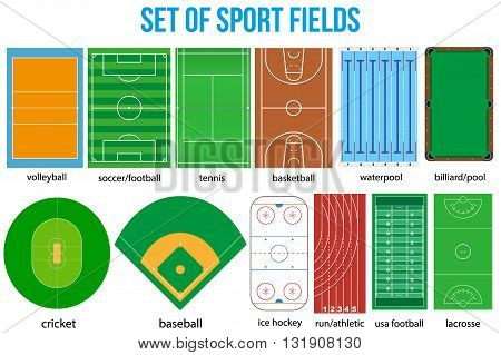 Set of most popular sample sport fields in a simple outline. Flat design. Vector illustration.