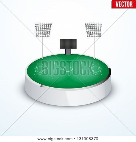Concept of miniature round tabletop lacrosse stadium. In three-dimensional space. Vector illustration isolated on background.