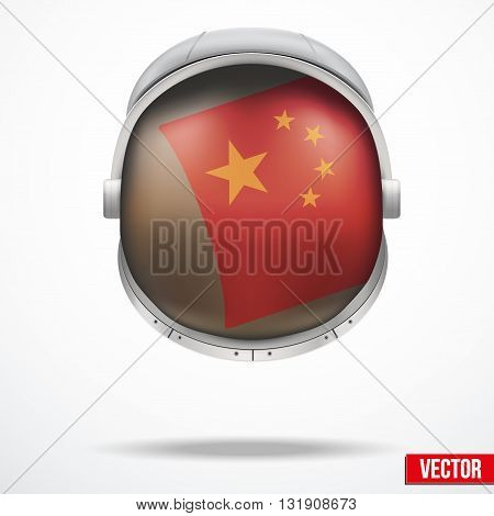 Astronaut helmet with big glass with flag China reflecting on visor glass. Vector Illustration Isolated on White Background