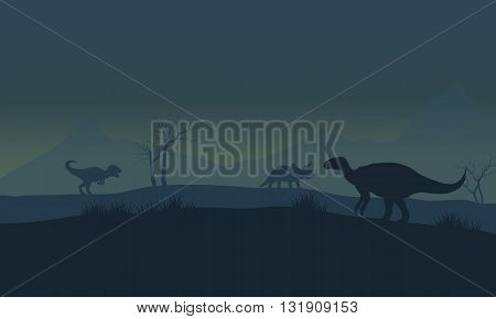 Silhouette of Iguanodon in fields at the morning
