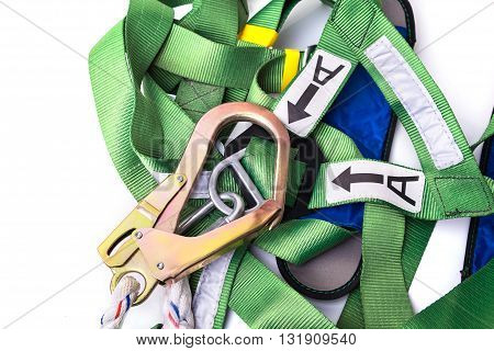 Closeup Fall Protection Harness And Lanyard For Work At Heights On White Background