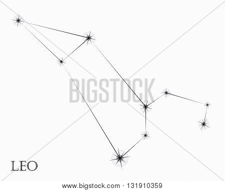 Leo Zodiac sign, black and white vector illustration