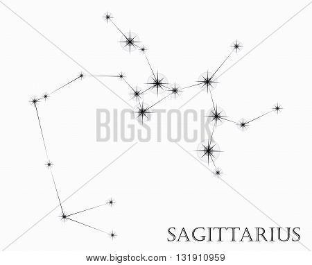 Sagittarius Zodiac sign, black and white vector illustration