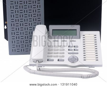 Phone switch system and digital telephone set isolated on the white background