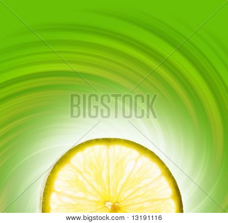 Lime slice on abstract background