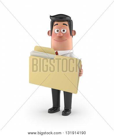 3D funny cartoon character office man in suit isolated