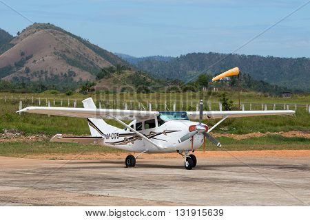 BUSUANGA PHILIPPINES - FEBRUARY 08 2014 : Airplane in Busuanga airport in island Coron.
