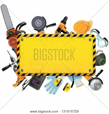 Vector Old Yellow Frame with Tools isolated on white background
